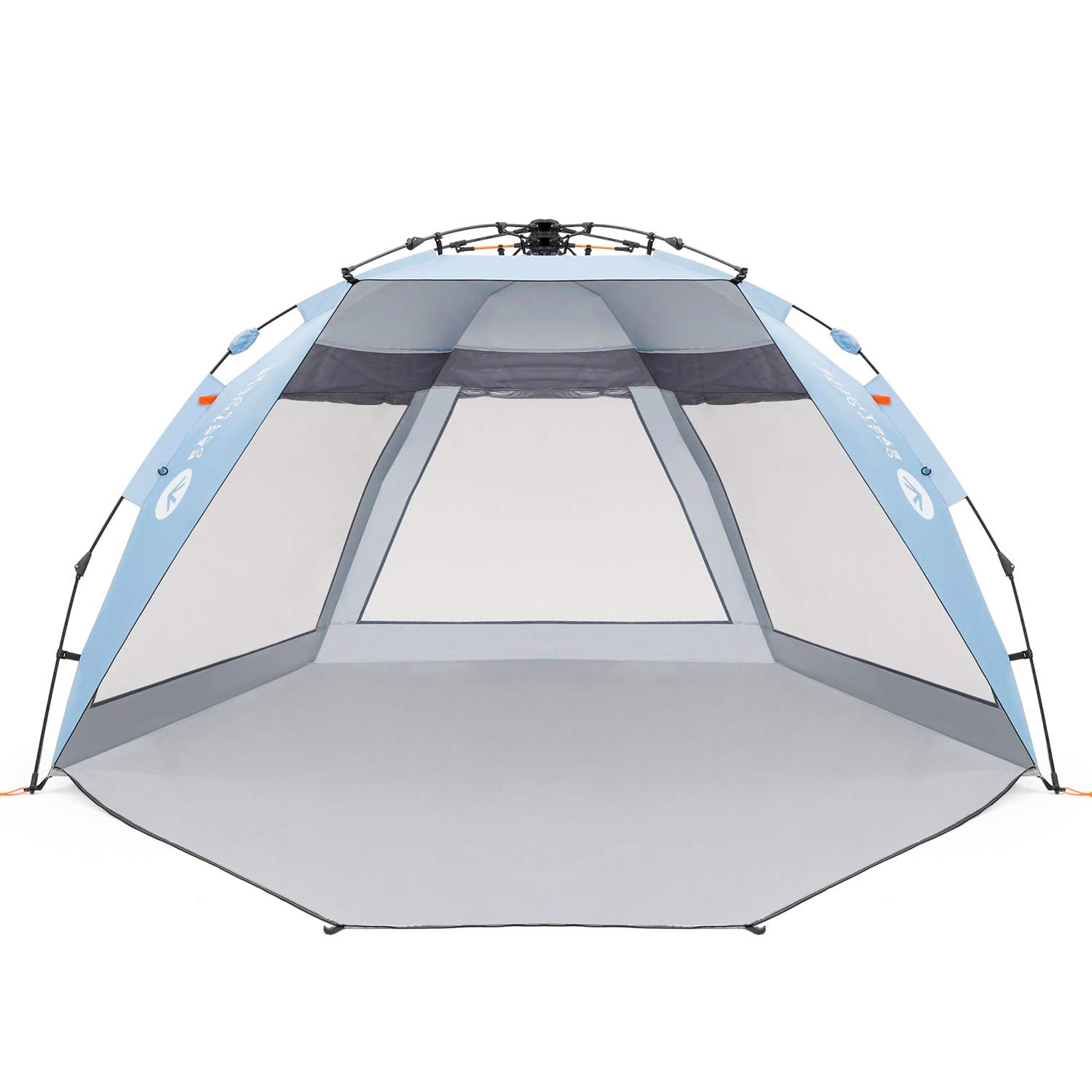 Easthills Outdoors Coastview Ultra 4-5 Person Family Sun Shelter Ultra Large Quick Setup Instant Anti UV Double Silver Coating Beach Tent with Extended Door & Window Sky Blue by Easthills Outdoors