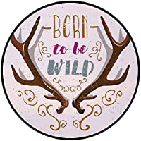 Printing Round Rug,Antler Decor,Colorful Born To Be Wild Slogan Cartoon Style Vivid Horns and Floral Elements Decorative Mat Non-Slip Soft Entrance Mat Door Floor Rug Area Rug For Chair Living Room,Mu
