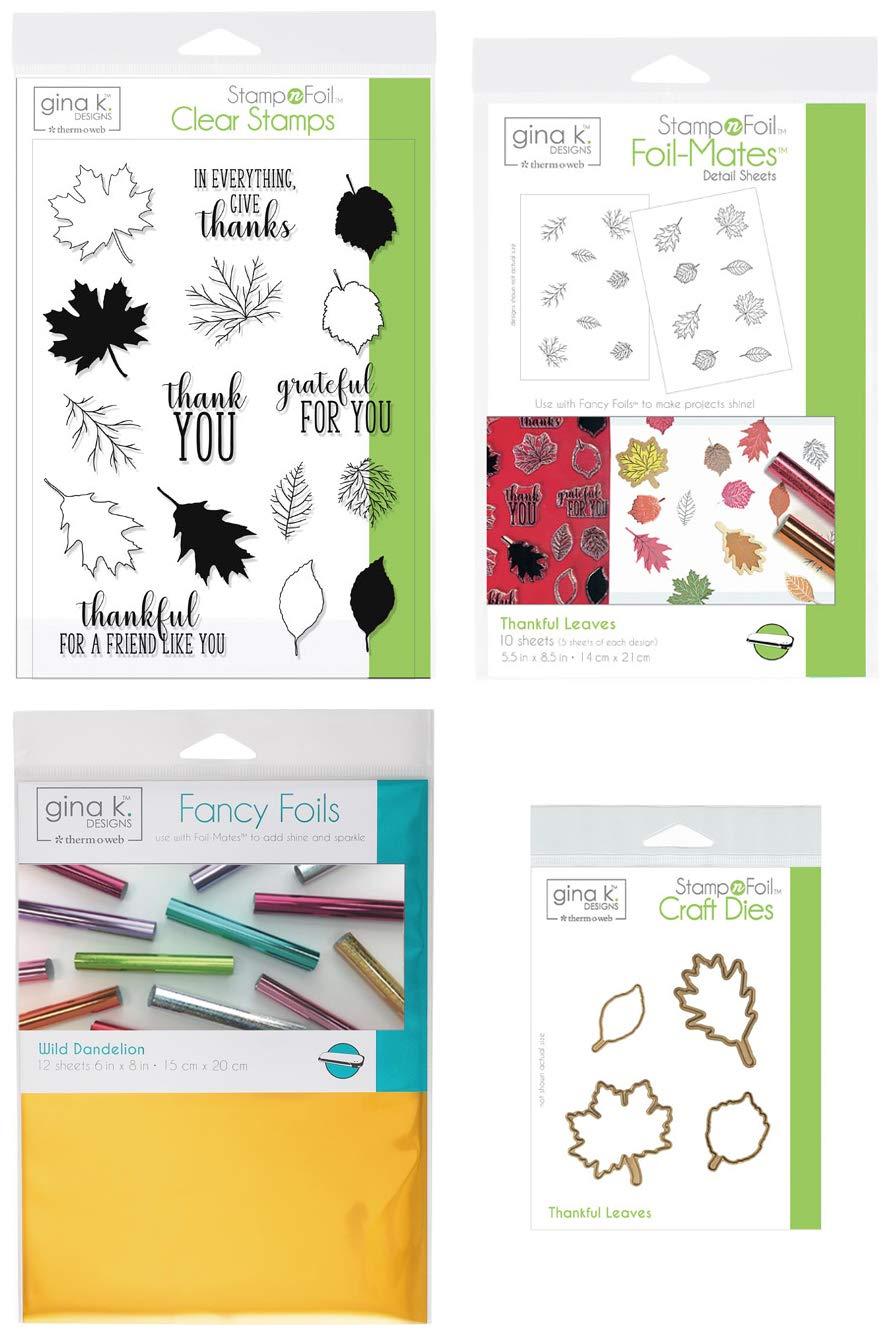 Gina K Stamp and Foil - Thankful Leaves Bundle - Clear Stamps, Steel Dies, Foil-Mates Detail Sheets and Wild Dandelion Fancy Foil with Storage Pocket