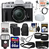 Fujifilm X-T20 Wi-Fi Digital Camera & 16-50mm XC Lens (Silver) with 64GB Card + Battery + Backpack + Flash + Tripod + Tele/Wide Lens Kit