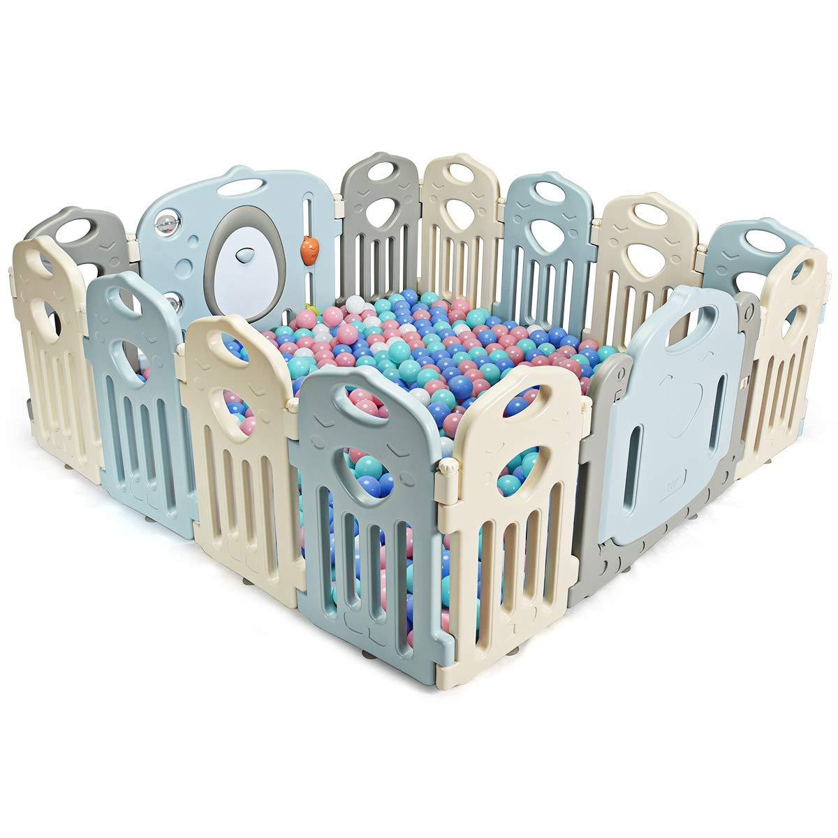 COSTWAY Parc B/éb/é Pliable/Barri/ère de S/écurit/é en Plastique avec Porte et Jouets Barri/ère du Jeux/pour Enfant/