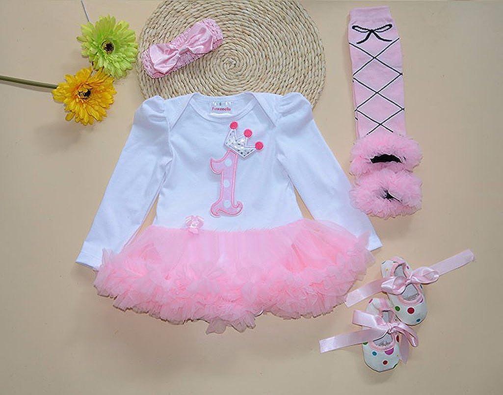 Sallyshiny Infant Neugeborenen Baby M/ädchen Strampler Kleid Outfit Body Tutu Rock Cartoon Kleidung 4-teiliges Set Kopfband Schuhe Beinw/ärmer