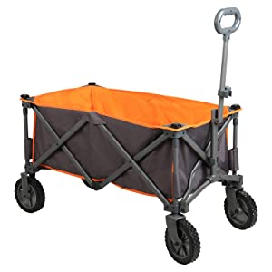 PORTAL Collapsible Folding Utility Wagon Quad Compact Outdoor Garden Camping Cart, Support up to 225 lbs (Grey-Removable Fabric)