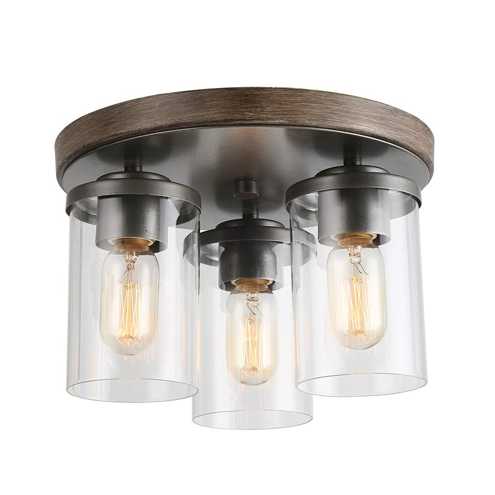 """LALUZ 3 Lights Vintage Flush Mount Ceiling Light in Faux Wood and Rusty Metal Finish with Cylindrical Clear Glass Shades, 11.8"""" Farmhouse Close to Ceiling Lighting for Living Room, A03407"""