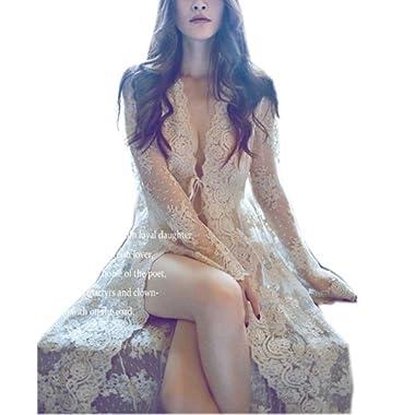 Womens' Sexy Lingerie Long Robe Lace Sleepwear Nightgown Babydoll Bohemian Nightdress