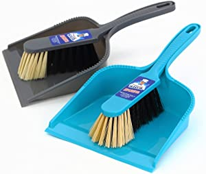 MR. SIGA Dustpan and Brush Set, Pack of 2 Set, Blue & Grey
