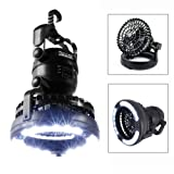 IMAGE Portable LED Camping Lantern with Ceiling Fan, Hurricane Emergency Survival Kit (Color: Black)