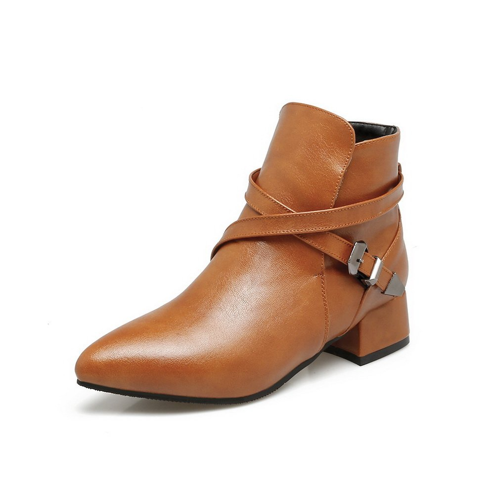 BalaMasa Womens Pointed-Toe Slip-Resistant Buckle Urethane Boots ABL09987