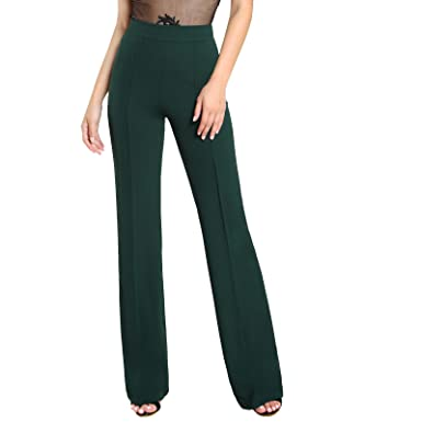 f2935c1e6f Fashionoliq Women Trouser High Rise Piped Dress Pants Green (L ...