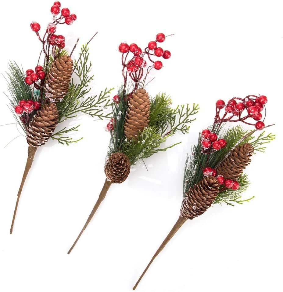3 Pcs Artificial Christmas Picks Assorted Red Berry Picks Stems Faux Holly Pine Picks Spray with Pinecones Apples Holly Leaves for Christmas Floral Arrangement Wreath Winter Holiday Season Décor