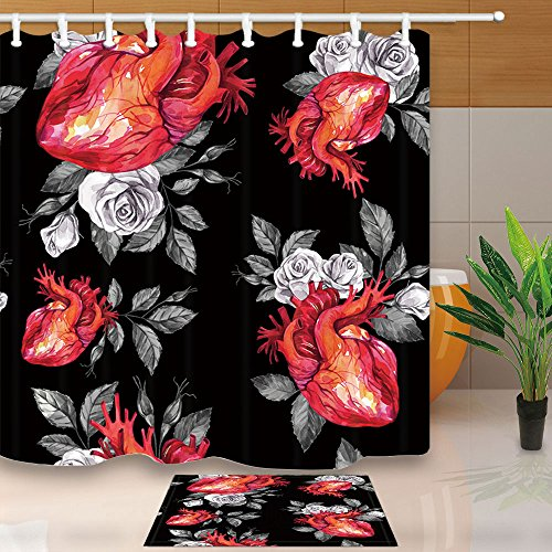 NYMB Watercolor Gothic Love Decor, Anatomic Hearts with Sketches of Roses and Leaves in Vintage, 69X70in Mildew Resistant Fabric Shower Curtain Set 15.7x23.6in Flannel Non-Slip Floor Bath Rugs
