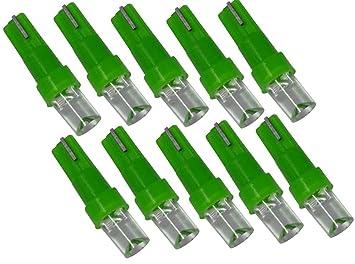 AERZETIX: 10 x Bombillas LED T5 12V Luz verde C1865: Amazon.es: Coche y moto