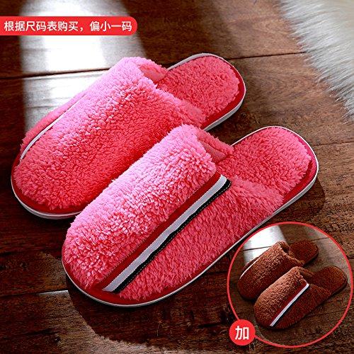 Cotone fankou pantofole femmina maschio Spessa matura inverno piscina home non-slip caldo, femmina 40-41 + maschio 42-43, cocomero rosso + colore caffè