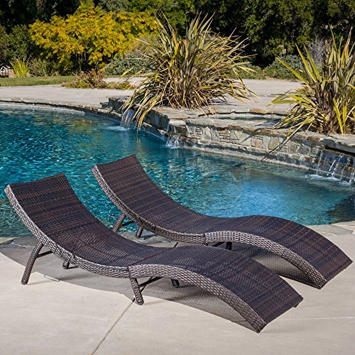 Christopher Knight Home Maureen Outdoor Multibrown PE Wicker Folding Chaise Lounge Chairs Set of 2