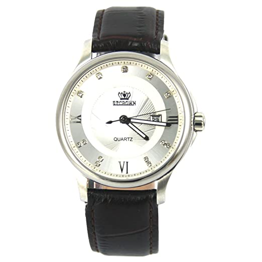 stcrown - Bolsita relojes hombres de cuarzo relojes cuarzo reloj para hombre correa de piel -2: Amazon.es: Relojes