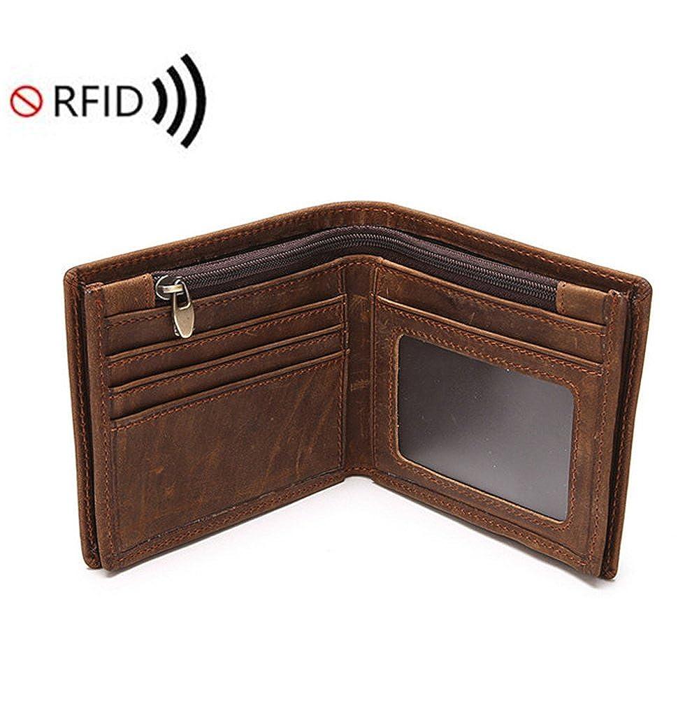 11e363286ca0 Amazon.com: Bi-Burning Mens RFID Blocking Leather Wallet Vintage ID ...