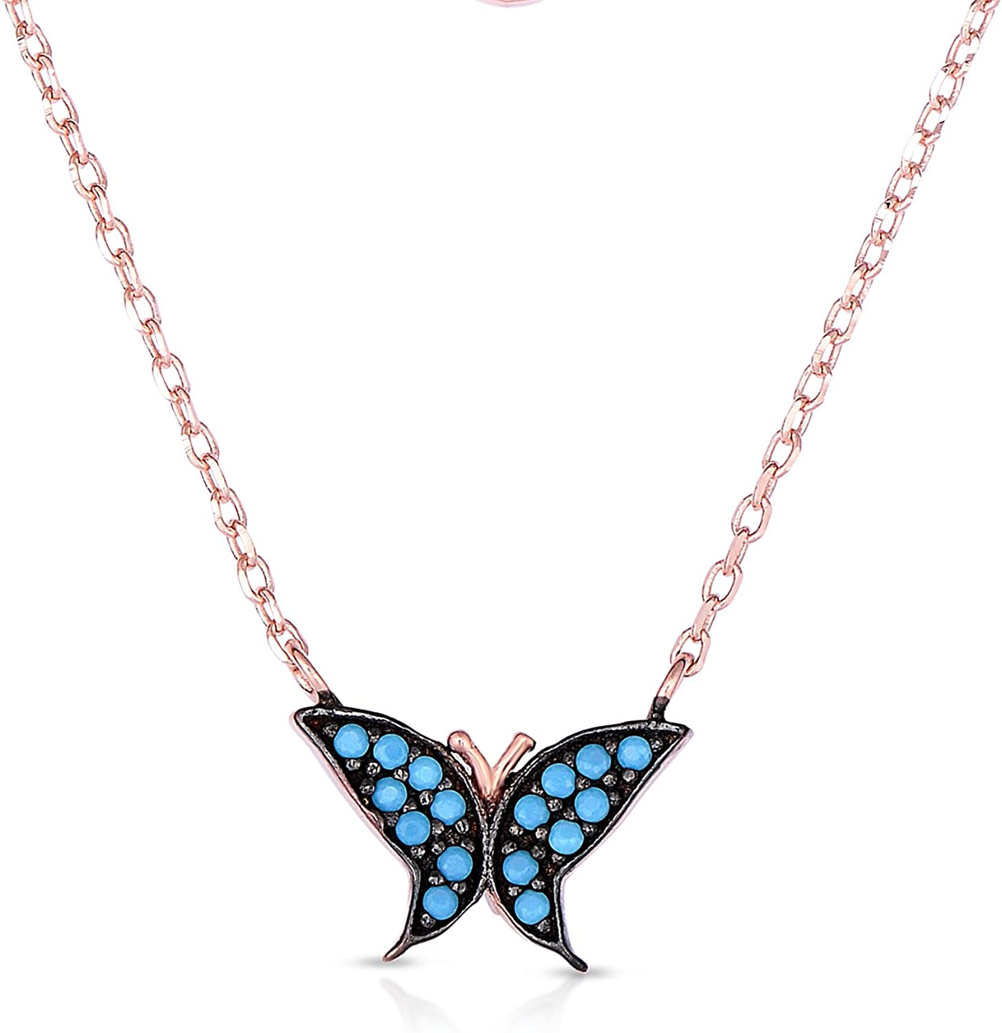 New Rhinestones Turquoise Butterfly Silver Plated Pendant Necklace 17 inch Chain