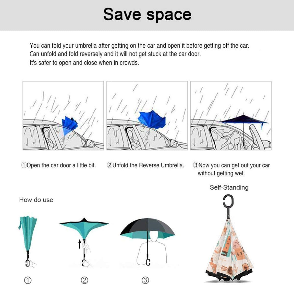 Folding Reverse Umbrella for Car Rain Outdoor Self Stand Upside Down with C-Shaped Handle PYFXSALA Rabbit Chicken House Windproof Inverted Umbrella Double Layer UV Protection