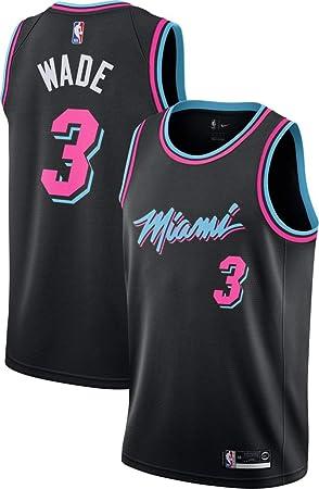 CanottejerseyNBA Dwayne Wade, camiseta de baloncesto Miami Heat #3, negro City Edition, un nuevo tejido bordado, estilo de ropa deportiva, M: Amazon.es: Deportes y aire libre