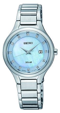 Seiko Reloj Analógico para Mujer de Energía Solar con Correa en Acero Inoxidable SUT351P9: Amazon.es: Relojes