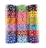 18 Roll Variety Pack of Decorative Duct Style Tape, Each Roll 1.88 Inch x 5 Yards, Ideal for Scrapbooking - Decorating - Signage (6 Heart + 6 Star + 6 Paisley)