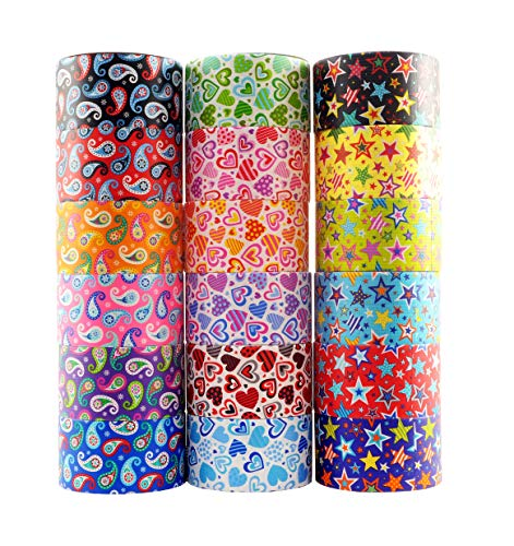 18 Roll Variety Pack of Decorative Duct Style Tape, Each Roll 1.88 Inch x 5 Yards, Ideal for Scrapbooking - Decorating - Signage (6 Heart + 6 Star + 6 Paisley) ()