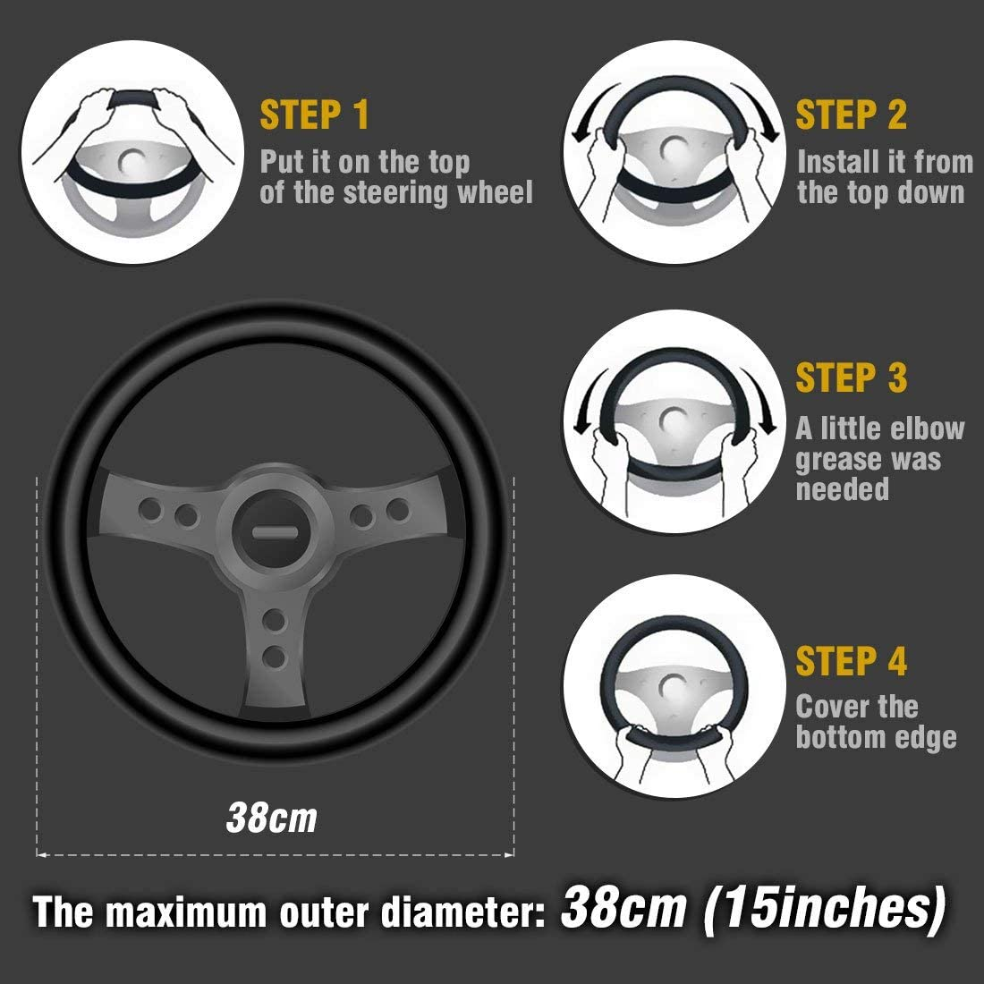 Odorless Black Breathable ZHOL Universal 15 inch Steering Wheel Cover Diamond and Viscose Anti-Slip