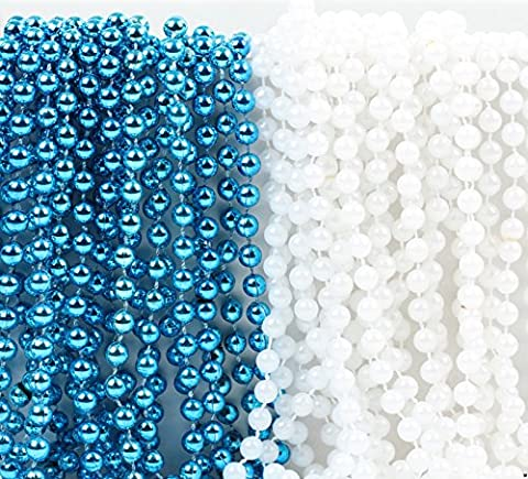 Andaz Press Mardi Gras Plastic Bead Necklaces Duo for Boy Baby Shower Baptism Party Favors and Table Centerpiece Decorations, Baby Blue and Pearl White, - Baby Blue Beads