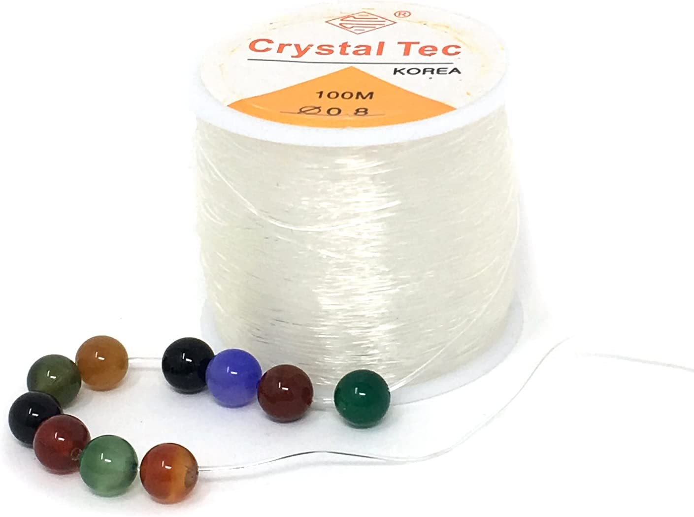 2 Rolls 0.6mm 100m Clear Bead Crystal Elastic Stretchy String Necklace