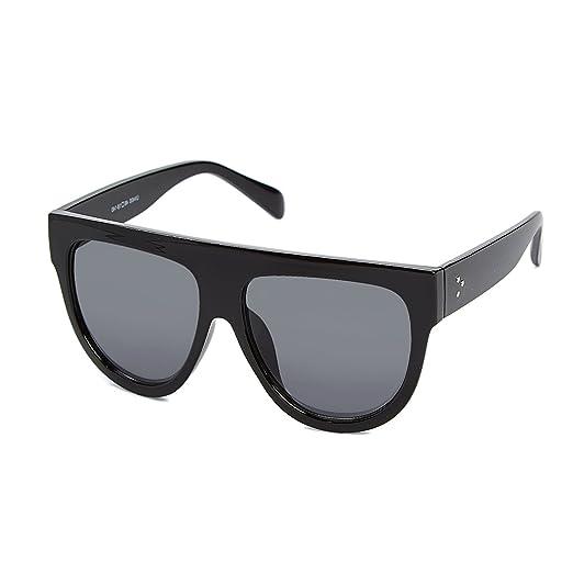 ab5cbad2a6 Women s Fashion Flat Top Super Future Retro Vintage Sunglasses (Black Smoke)