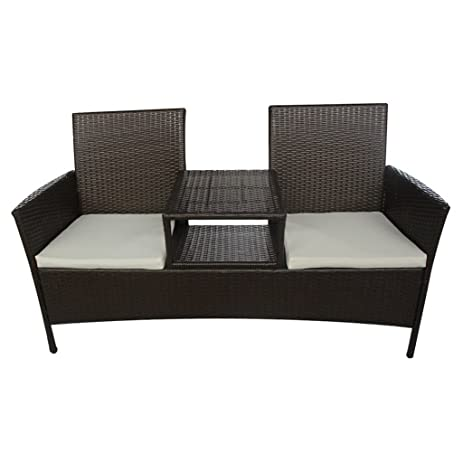 Great Daonanba Combine Style Outdoor Poly Rattan Two Seater Bench With Tea Table  Relaxing Garden Furniture Gallery