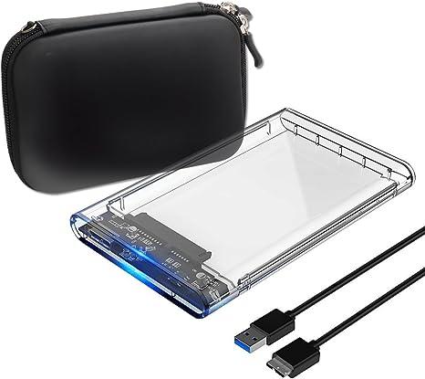 unionup Caja Disco Duro Externo 2.5 Caja SSD HDD 7 mm a 9,5 mm SATA USB 3.0 5 Gbps Disco Duro Portátil UASP para PC/Laptop Transparente: Amazon.es: Informática