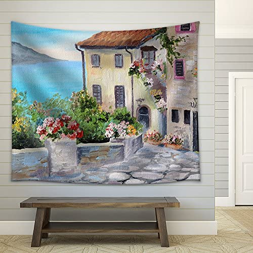 Oil Painting of a Beautiful Houses Near The Sea Architecture City Colorful Fabric Wall