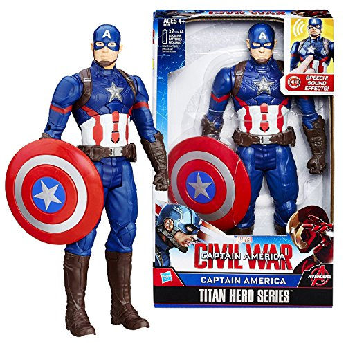 (Marvel Year 2015 Captain America Civil War Titan Hero Series 12 Inch Tall Electronic Figure - CAPTAIN AMERICA with Sounds Plus)