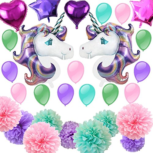Fonder Mols 46 Unicorn Balloons Birthday Party Supplies For Kids Birthday Decorations  Baby Shower Decorations  36Pcs