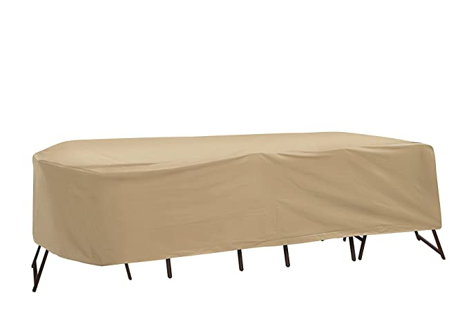 Protective Covers Weatherproof Patio Table and Highback Chair Set Cover, 60 inch x 66 inch, Oval/Rectangle Table, Tan
