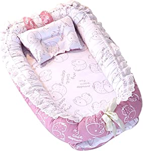 Edith qi Baby Lounger, Baby Nest & Baby Bassinet, Portable Crib, 100% Soft Cotton Breathable Crib, Perfect for Co-Sleeping and Traveling