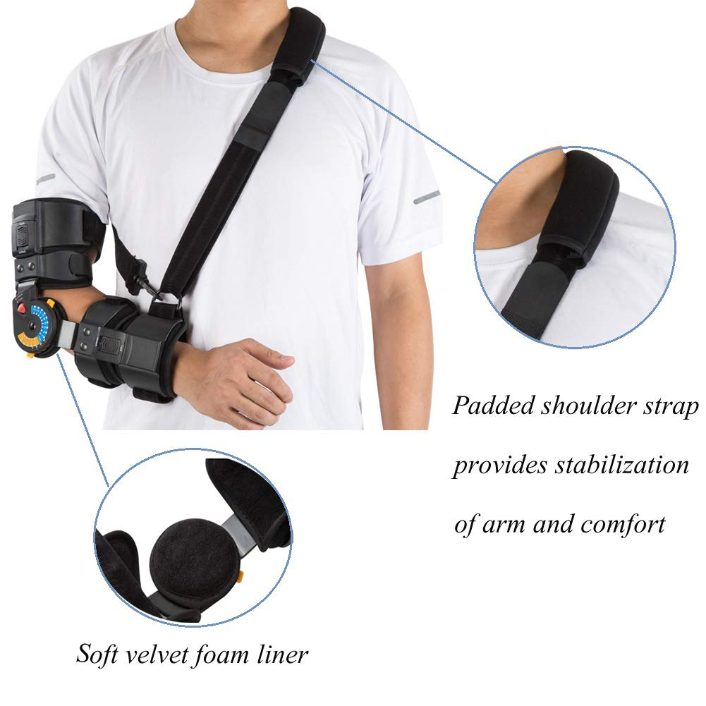 Hinged ROM Elbow Brace with Sling, Adjustable Post OP Elbow Brace Stabilizer Splint Arm Injury Recovery Support-Left by Medibot (Image #7)