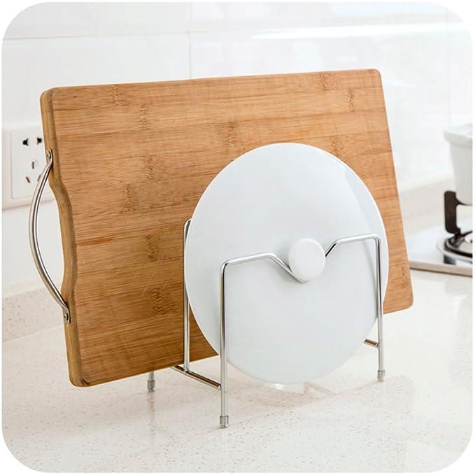 Xuniu 2 Capas de Acero Inoxidable Utensilios de Cocina Portapotas Porta Tapa de Rack Organizador Tabla de Cortar Bastidor de despensa Rack 16.7x10.5x15.5cm: ...