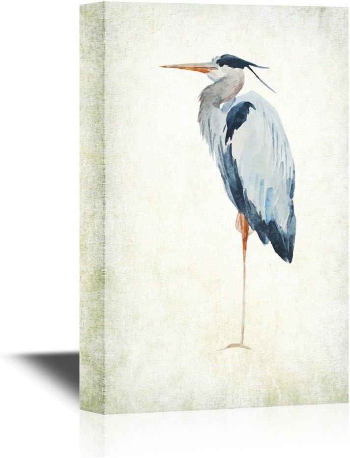 wall26 - Canvas Wall Art - Heron Bird - Wild Animal- Gallery Wrap Modern Home Art | Ready to Hang - 16x24 inches