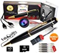FabQuality Spy Pen 1080p LIMITED TIME Hidden Camera BUNDLE 16GB SD Card, Real HD Voice Video & Image + Upgraded Battery + 5 ink Fills Inc + USB SD Reader. Executive Multifunction DVR Perfect Gift