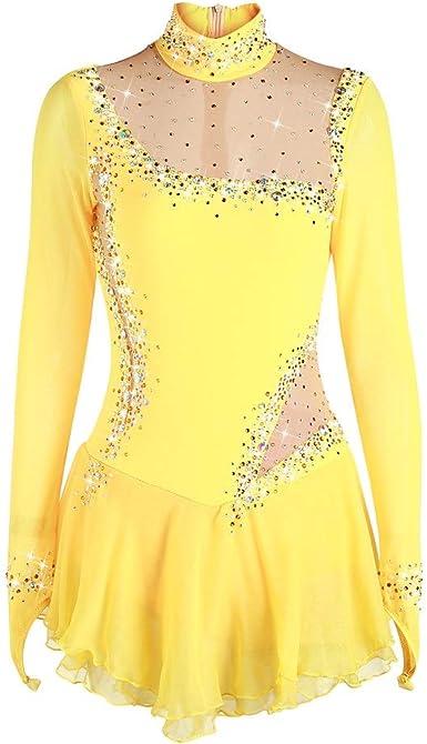 Kmgjc Figure Skating Dress Womens Girls Floral Long Sleeve Ice Skating Dress