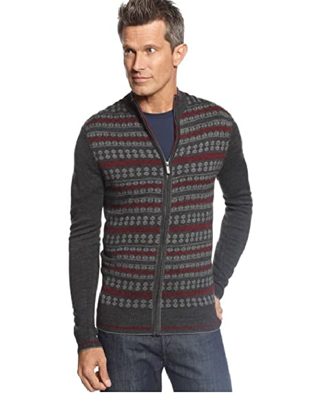 Geoffrey Beene Men's Zipfront Fairisle Cardigan Sweater Charcoal ...