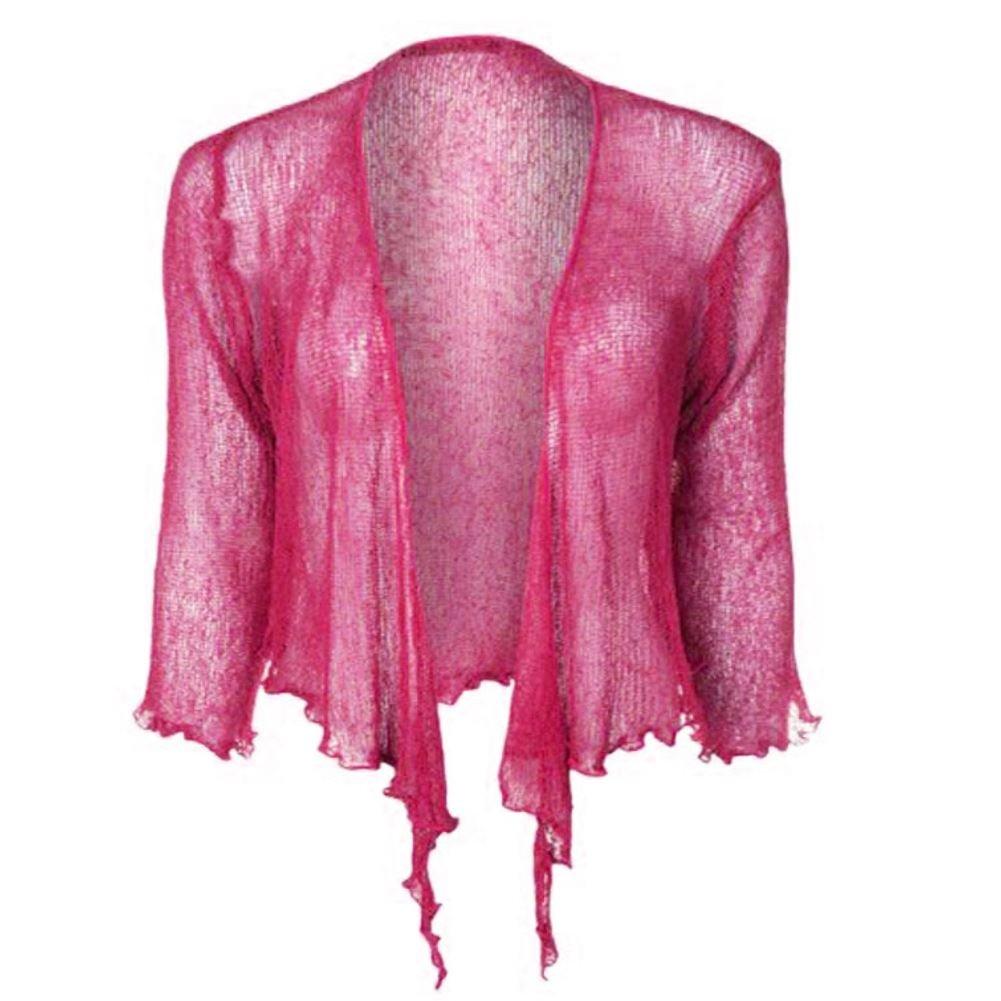 Womens Double Fine Knit Bali Tie Up Bolero Shrug Cropped Stretchy Cardigan Top