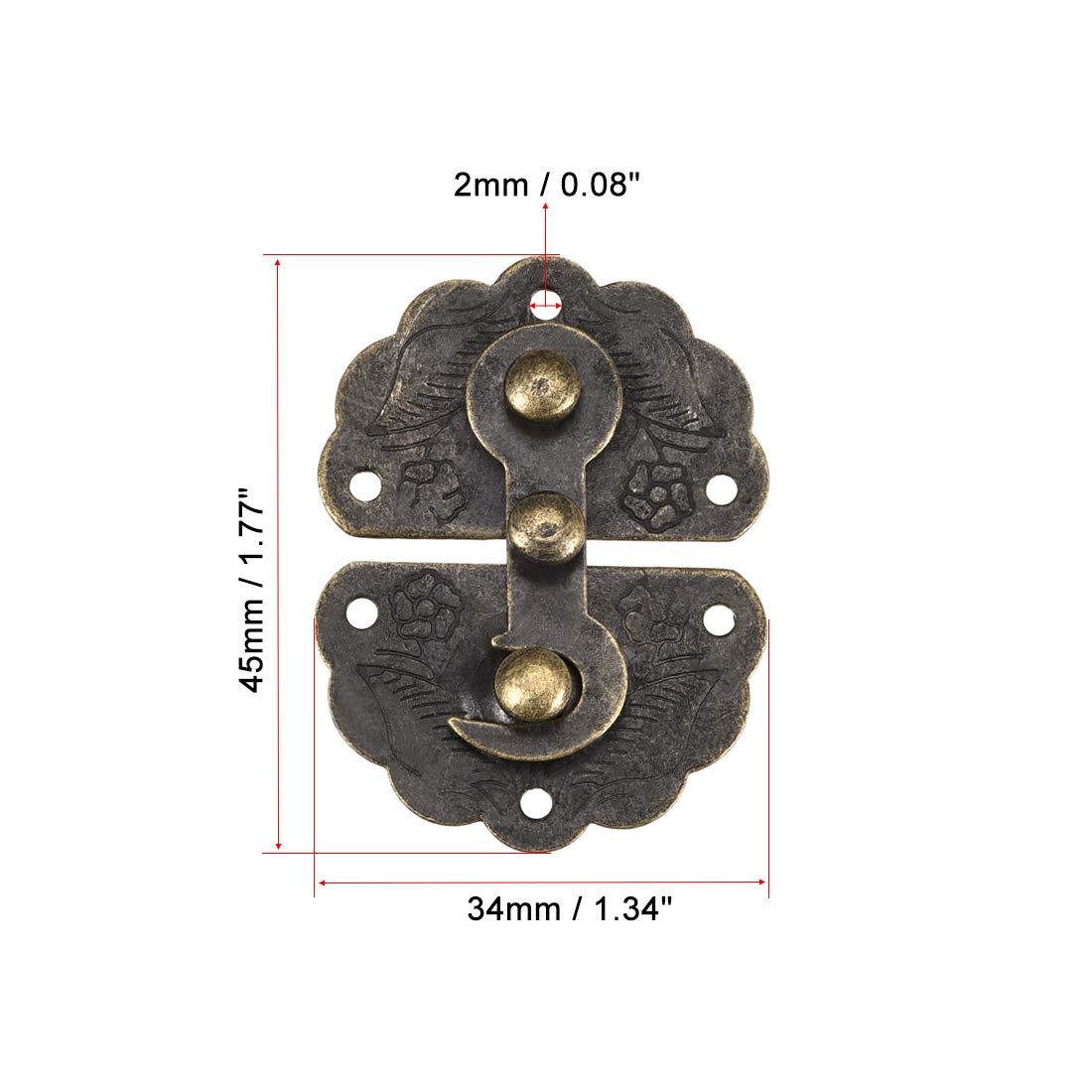 sourcing map Madera Estuche Caja 45x34mm Traba Antig/üedades Pestillos Gancho Tonos Bronce 45x34mm 2 piezas