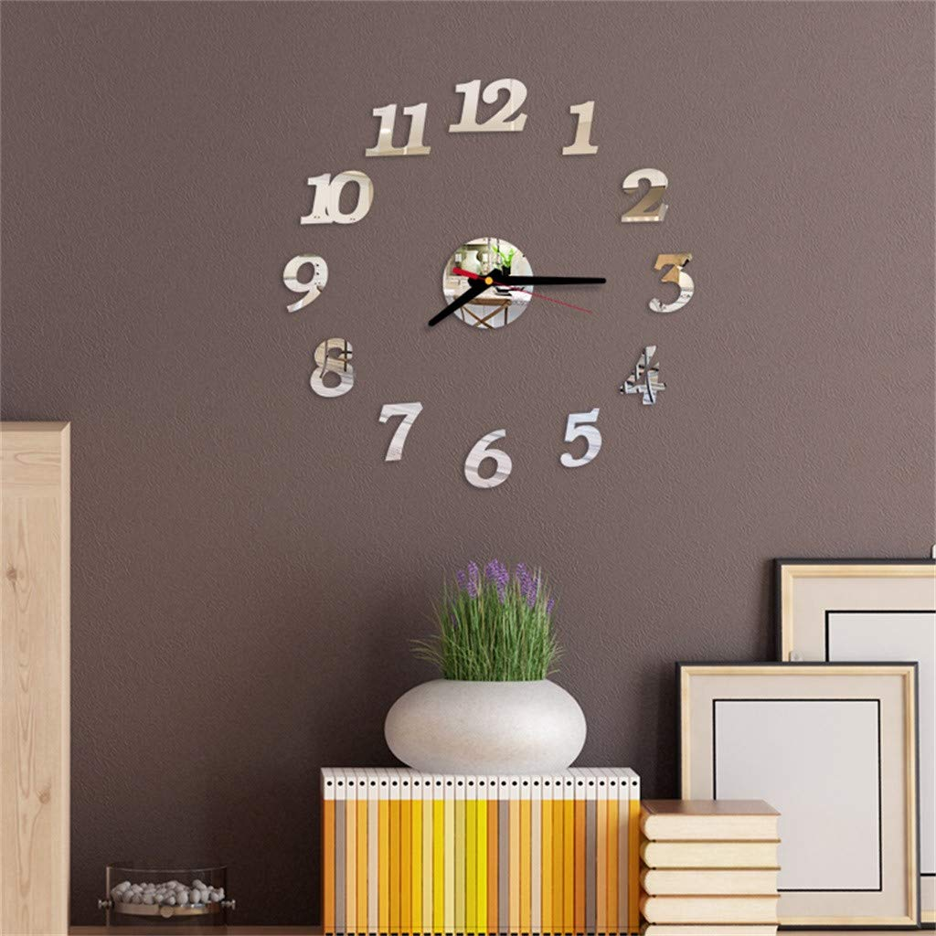 DIY Wall Clock, salaheiyodd 3D Roman Numbers Acrylic Mirror Wall Clock with Mirror Numbers Stickers for Home Office Mural Decals Decorations (Silver)