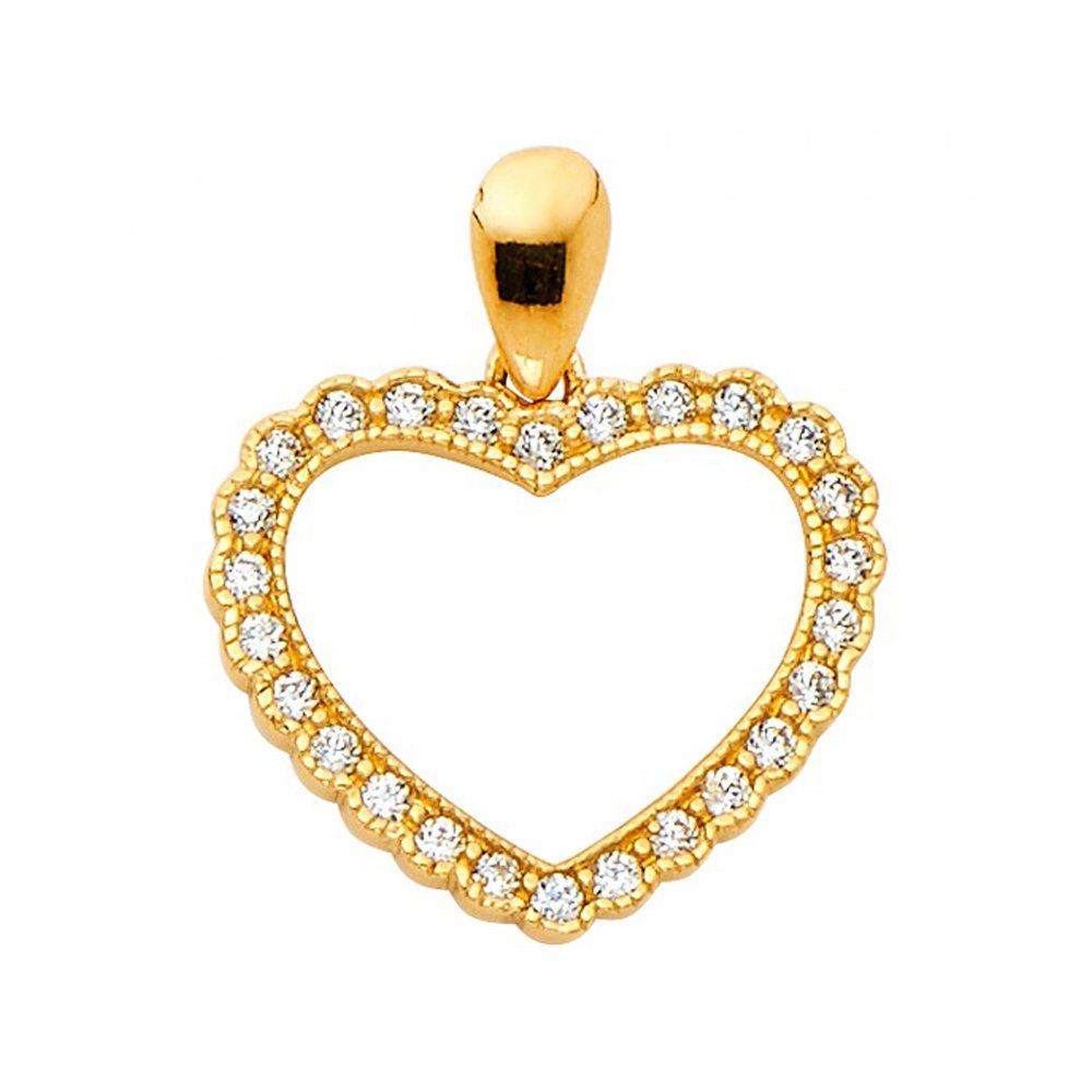 14k Yellow Gold Cubic Zirconia Milgrain Heart Pendant