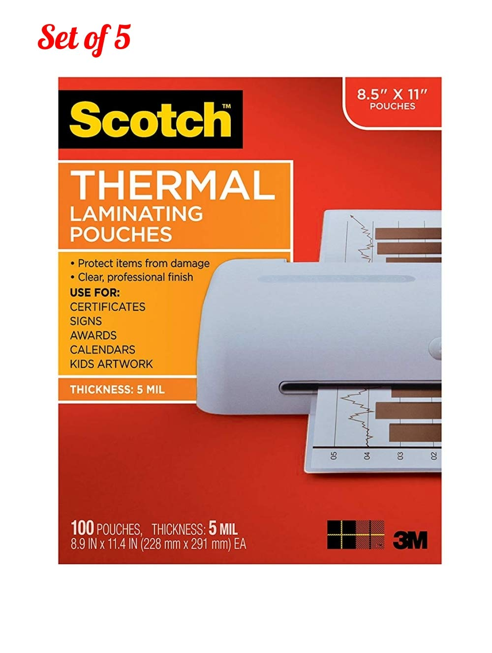 Scotch Thermal Laminating Pouches, 8.9 x 11.4-Inches, 5 mil Thick, 100-Pack (Set of 5) by Scotch Brand