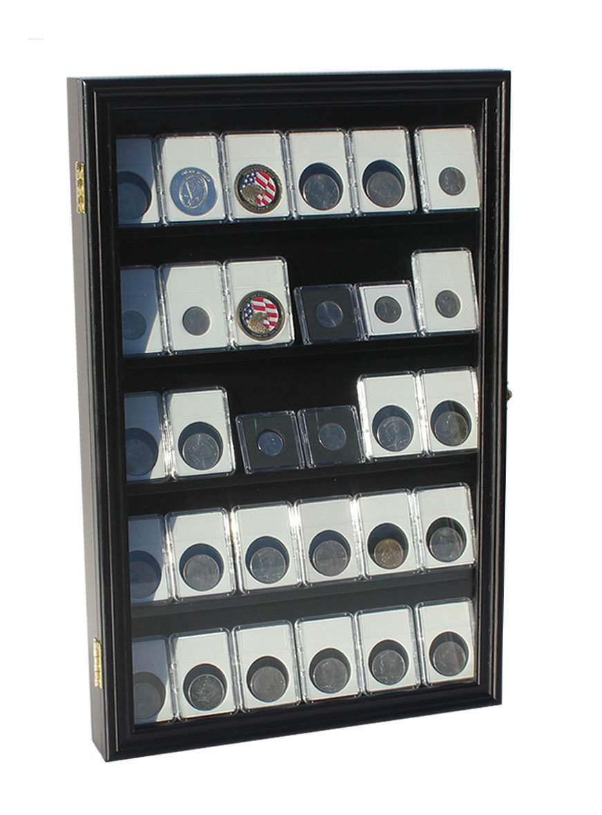 Collector NGC PCGS ICG Coin Slab Display Case Cabinet Holder Rack (Black)