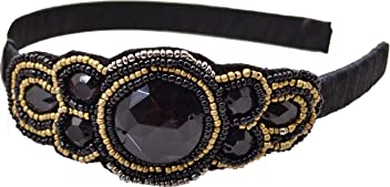 Style & Co. Headband Fashion Accessorie Black Beaded Applique